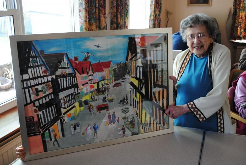 Pauline with her art work